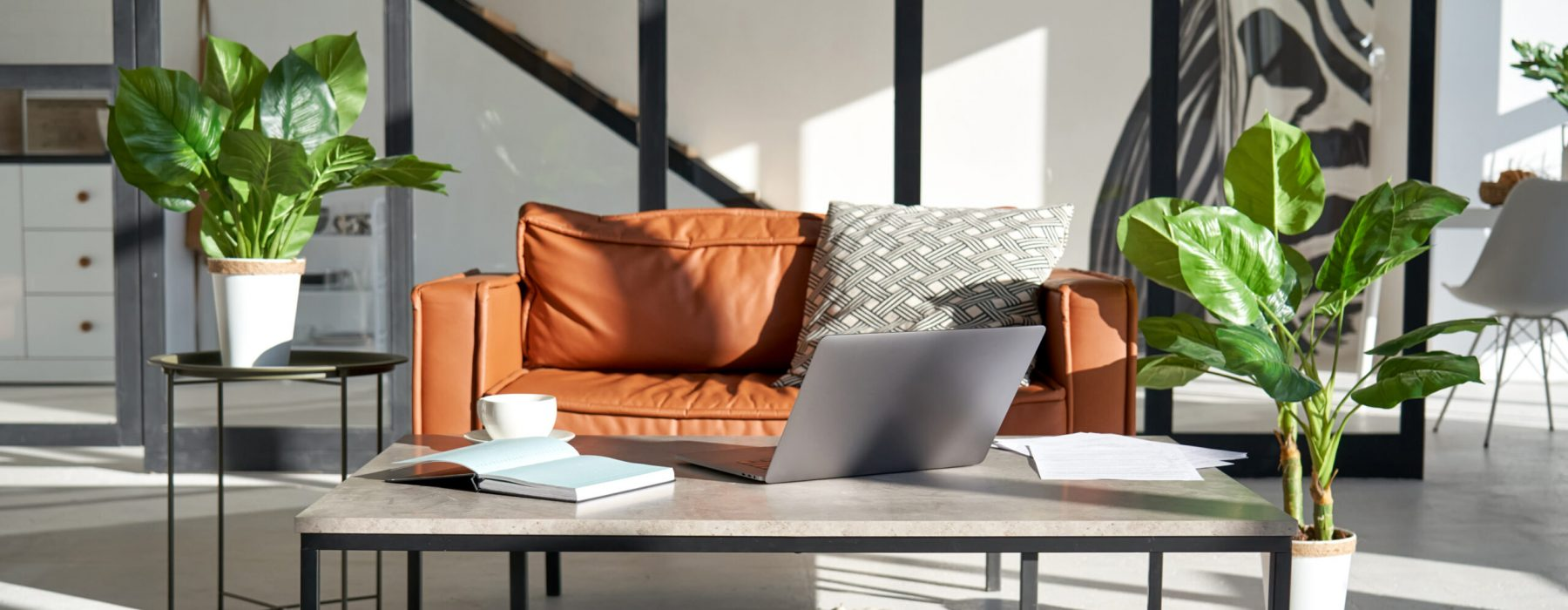 Modern sunny living room interior design with home office workplace and sofa.